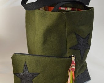 Army Green everyday tote.Shoulder bag canvas faux leather bottom.Ostrich like vinyl black star.canvas bookbag.sac kaki.Army Green Canvas bag