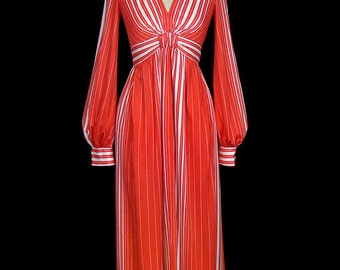 Luis Estevez striped maxi dress, orange and white, plunging neck, bishop sleeves, couture day, work / office, evening, 1960s 1970s 60s 70s