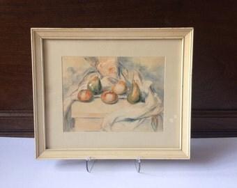 Framed vintage print of still life with fruit