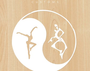 "DMB Yin Yang 4.5"" Vinyl Decal with Fire Dancer & Dancing 8 Figures"