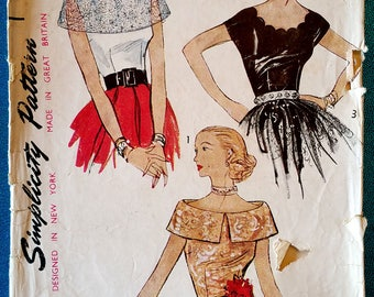 """Rare vintage 1950's blouse detachable peplum capelet sewing pattern - Simplicity 3558 - plus size 18 (36"""" bust, 30"""" waist, 39"""" hip) - 1951"""