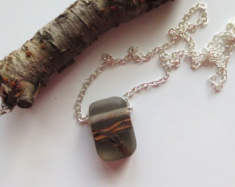 Rectangular, Gray Twig/Resin Pendant with Chain necklace