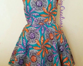African Clothing: Liya African Print Skater Dress