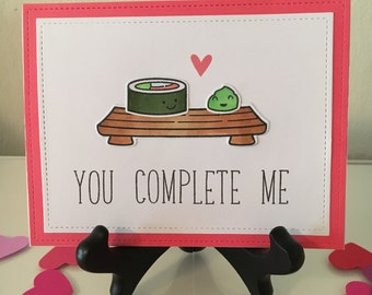 "Sushi Love Card ""You Complete Me"" - Love Card, Anniversary Card, Valentine Card, Card for Her, Card for Him, Funny Love Card"