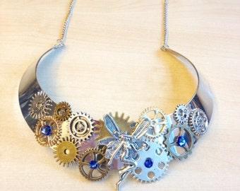 Bib necklace steampunk blue elf with COGS, gears, blue Sapphire Swarovski Crystal