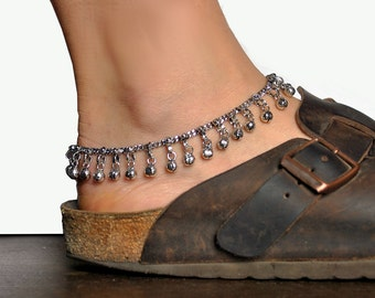 Anklet bells, Bell ankle bracelet, belly dance jewelry, ethnic indian anklet, gypsy foot jewelry, Silver Anklet, Pair ankle bracelet bells
