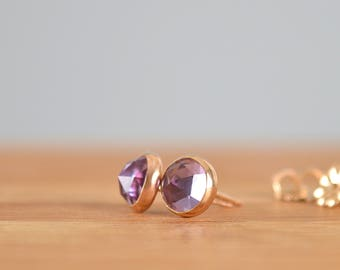 Alexandrite Stud Earrings Color Changing June Birthstone 6mm Rose Cut Alexandrite Earrings: Sterling Silver, 14k Gold Filled