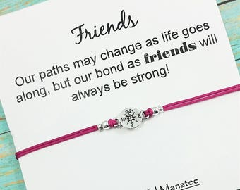 Compass Bracelet | Friendship Bracelet | Best Friend Compass Bracelet | Compass Charm Bracelet | Long Distance Friend | Gift for Friend