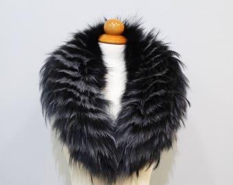 Real Large Fox Fur Collar,Scarf fur,Wrap fur,Scarves fur,Mother day gift,Woman Collar,Fur Collar,Fur for Leather Jacket,real fur collar F545