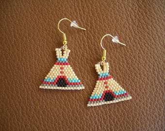 TeePee Beaded Earrings, Authentic Native American Hand Made, Southwest Design, First Nation. ndn., Delica Beads, Brick Stitch. Light weight.