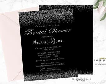 Bridal Shower Invitation Black and Silver, Glitter Invitation, Custom Shower Invite, Printable Invitation, Digital Invitation, BR034