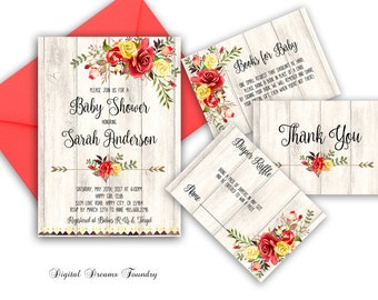 Floral Baby Shower Invitation Printable Bohemian Baby Shower Invitation Yellow Red Rose Baby shower Rustic Baby Shower Modern Calligraphy