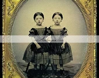 Digital Download Printable Art - Twin Girls Antique Victorian Tin Type Photograph - Paper Crafts Scrapbook Altered Art - Vintage Antique