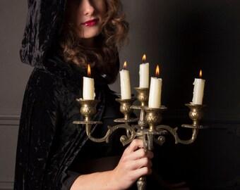 Velur dreams, the black velour cape   HALLOWEEN men women unisex cosplay