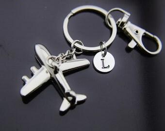 Silver Airplane Charm Keychain, Airplane Keychain, Airplane Charm, Airplane Pendant, Personalized Keychain, Initial Charm, Initial Keychain