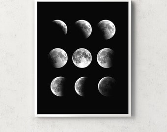 Moon print, moon phases, moon wall art, moon poster, moon art, phases de lune, affiche lune, full moon, la luna, lune, scandinavian wall art