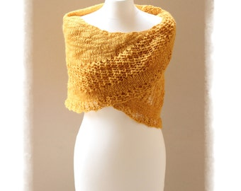 Wool lace SHAWL, Knit shawl, Shoulder Cover Up, Mustard shawl, Yellow shawl, Casual Wrap, Boho Shawl, READY to GO, Code: Jasmine-02