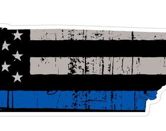 Tennessee State (V43) Thin Blue Line Vinyl Decal Sticker Car/Truck Laptop/Netbook Window