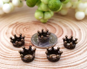 5 Tiny Antique Bronze Crown Charms | Bronze King Crown | 3-D Crown | 2119