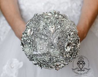 Silver Wedding, Brooch Bouquet, Rhinestone Wedding, Bridal Bouquet, Crystal Bouquet, Bridesmaids Bouquet, Brooch Bouquet, Silver Bouquet.