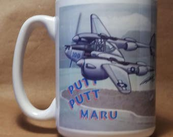 World War 2 P-38 Lightning mug Army Air Corps white 12-oz for military history buff