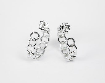 Chain Earrings - Circles Earrings - Fashion Look - Sterling Silver