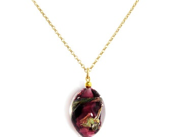 Murano Glass Bead Necklace on Gold Chain 'Valeria' from Mystery of Venice, Murano Glass Necklace, Murano Glass Beads, Amethyst Glass Beads
