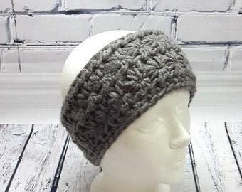 Headband women, headband crochet headband, gray earmuffs, flower, gift Christmas pattern, knitting, headband-star