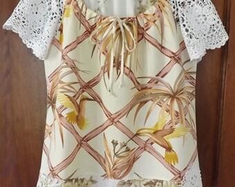 Upcycled ladies hummingbird peasant blouse – size 12-14