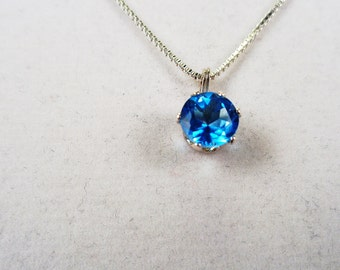 7mm. Natural Swiss Blue Topaz 1.6ct. Round Silver Necklace.