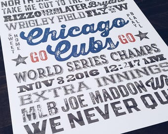 Chicago Cubs Subway Poster Print - Wall Art - Typography - Digital File