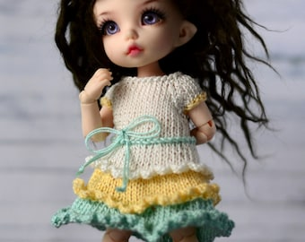 dress for pukifee tiny sd bjd dolls tunic with ruffles