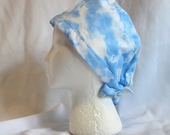 Blue Sky with Clouds Yellow Surgical Scrub Cap Chemo Dental Hat
