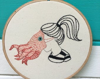 Beginner Embroidery Kit, Complete Beginner Kit, SquidGirl Kit