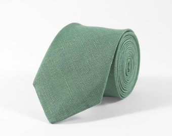 Sage green tie, Sage green linen tie, Tie for wedding, Sage green skinny tie, bow ties for men, sage green necktie, sage green bow tie