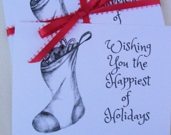 Holiday Postcards   - Stocking Holiday  Postcards / Christmas Postcards / Black and White Greeting Postcards / Season Greeting Postcards