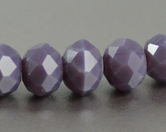 Chinese Crystal Faceted Rondelles in Opaque in Lavender Purple  6x8mm