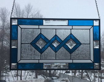 Rectangular Stained Glass Abstract Panel with Cobalt Blue Double Border
