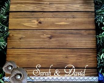 Wedding Guest Book Alternative, Wood Guest Book. Personalized Rustic Wedding Guest Book, Rustic Guest Book Lace, Romantic Guest Book Wedding