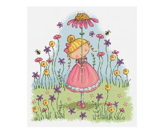 Flower Girl - Durene J Cross Stitch Pattern - DJXS 2207