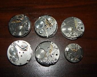 Set of 6   Vintage watch movements, Lot, Steampunk supplies, Steampunk parts   #et 577