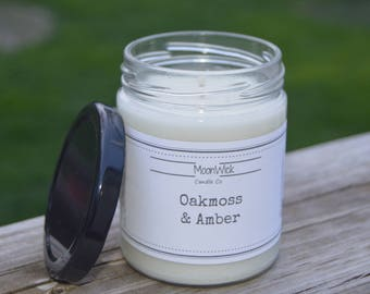 Oakmoss & Amber Soy Candle   8oz. Soy in Glass Jar   Wooden OR Cotton Wick   Masculine Scented Candle   Fresh and Clean Scent   Man Candle
