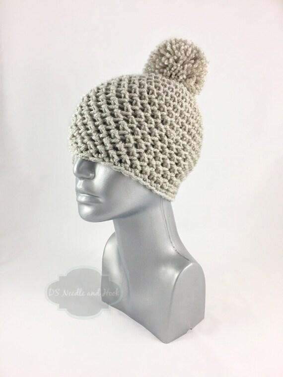 Beige Crochet Beanie with Pom, Taupe Crochet Hat, Tan Winter Beanie With Puff, Light Brown Pom Pom Knit Hat, Warm Ski Cap, Toque