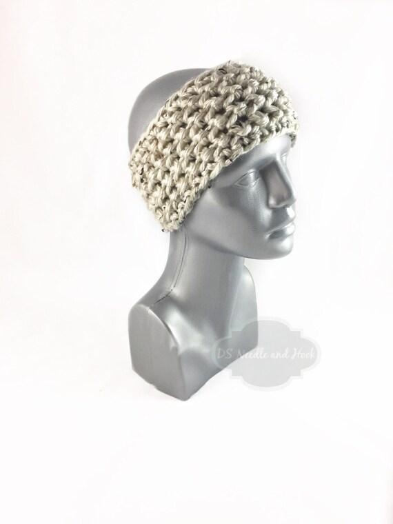 Cream Tweed Crochet Headband, Chunky Beige Ear Warmer, Brown Head Wrap, Knit Winter Headband, Head Warmer,