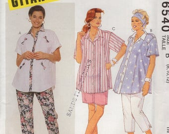 FREE US SHIP McCall's 6540 Gitano Modest Maternity Top Pants Shorts Capris Retro 1993 1990's Uncut Sewing Pattern  Size 8 10 12