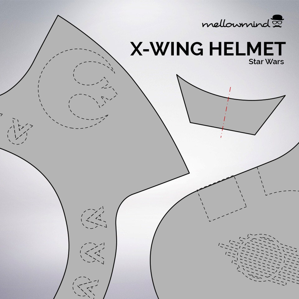 diy star wars classic x wing helmet templates for eva foam from mellowmindcosplay on etsy studio. Black Bedroom Furniture Sets. Home Design Ideas