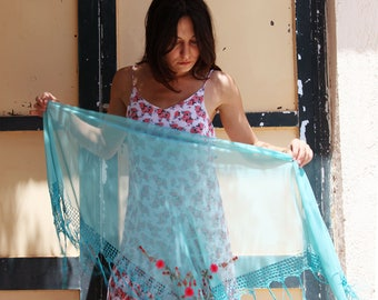 Boho gypsy sheer light blue embroidered vintage shawl,scarf,pareo.