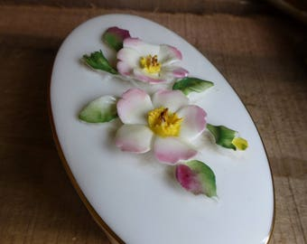Coalport Fine Bone China Trinket Pot with Flowers on the Lid