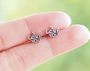 I Love You Stud Earrings, Cartilage Earrings, 925 Sterling Silver, Love Jewelry, Everyday Jewelry Gift - SB127