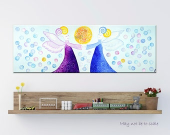 Angels wall art - Original canvas art - Guardian angel print - Nursery wall decor - Baby room wall art - Blue Purple Yellow - Sun Angels